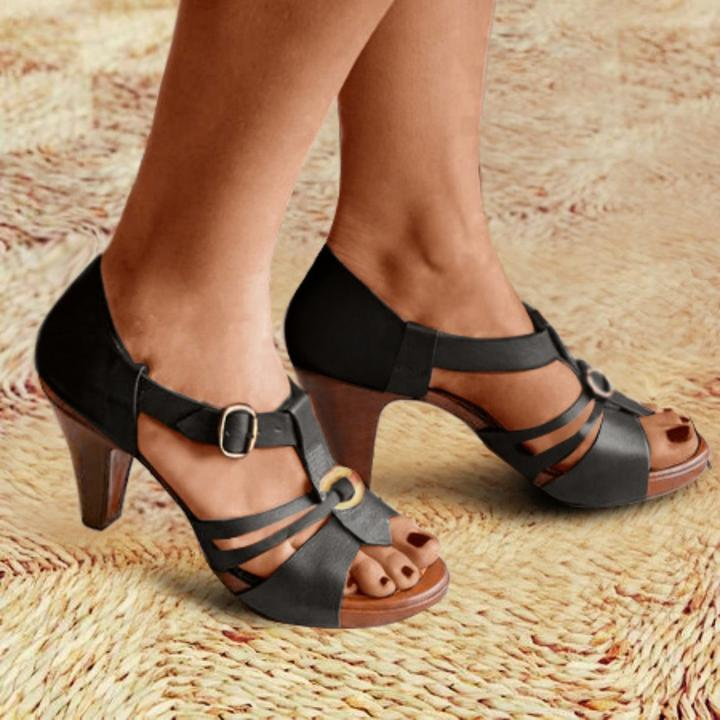 Hollow Buckle High Heels Stilettos Sandals