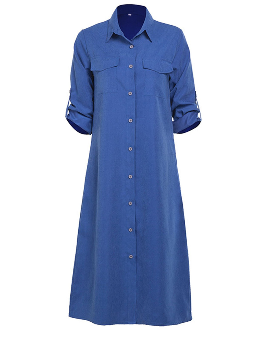 Spring Long Sleeve Button Down Women Shirtdress