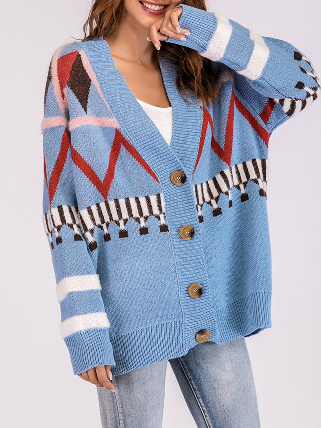 Blue Geometric Cotton Long Sleeve Wide Sweater Cardigans