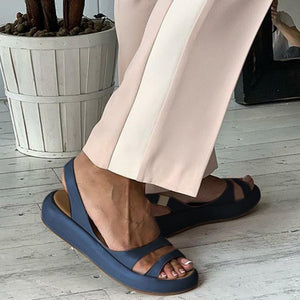 Plain Peep Toe Strap Band Mules Sandals