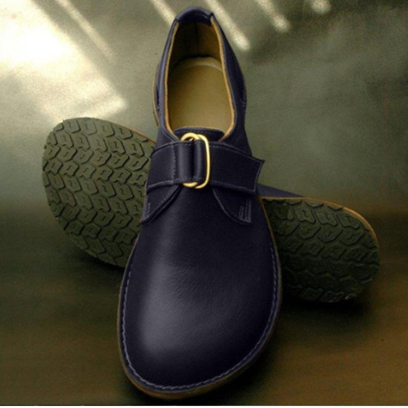 PU Round Toe Flat Buckle Trim Casual Shoes