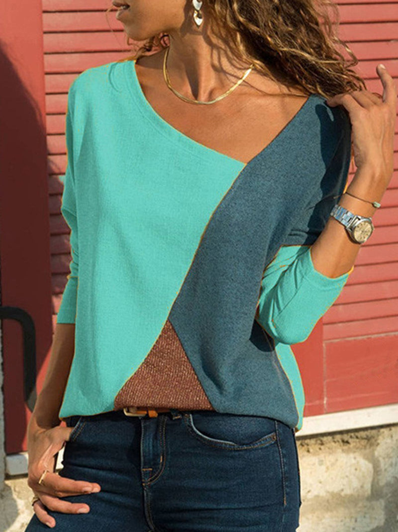 Long Sleeve Paneled Casual Asymmetric V Neck T-Shirt