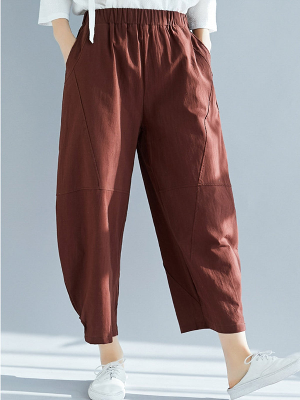 Loose Paneled Solid Linen/Cotton Women Casual Pants