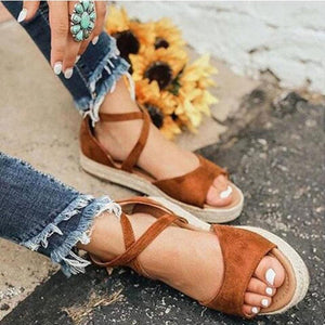 Flocking Cross-Band Low Heel Platform Women Sandals