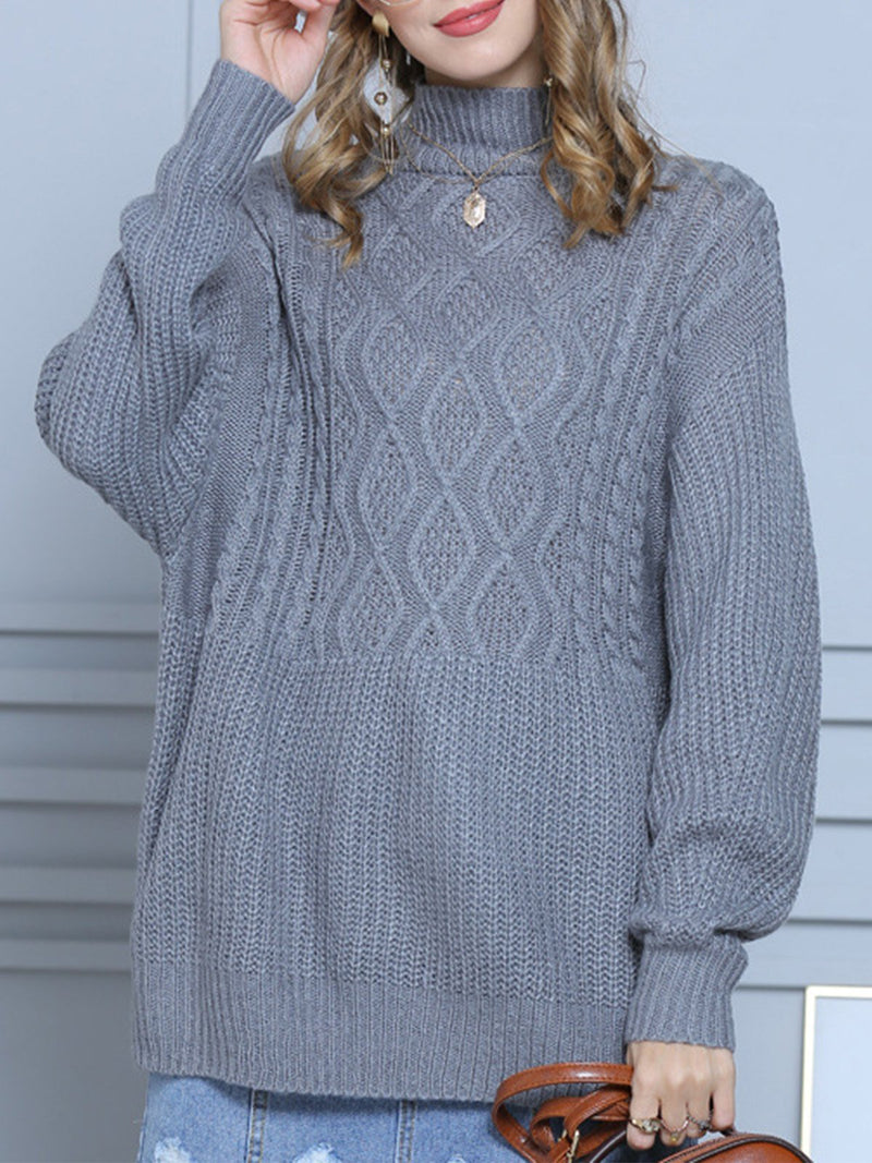 Medium-length Plain-colored Knit Sweater