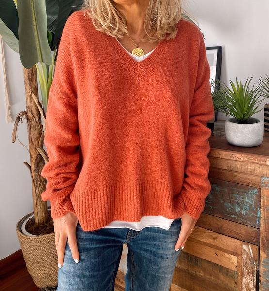 Orange V Neck Casual Plus Size Sweater