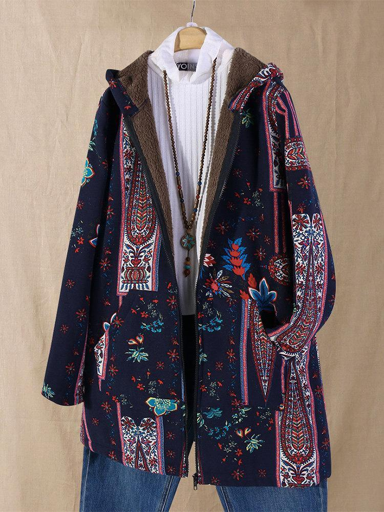 Casual Floral Coat With Hood