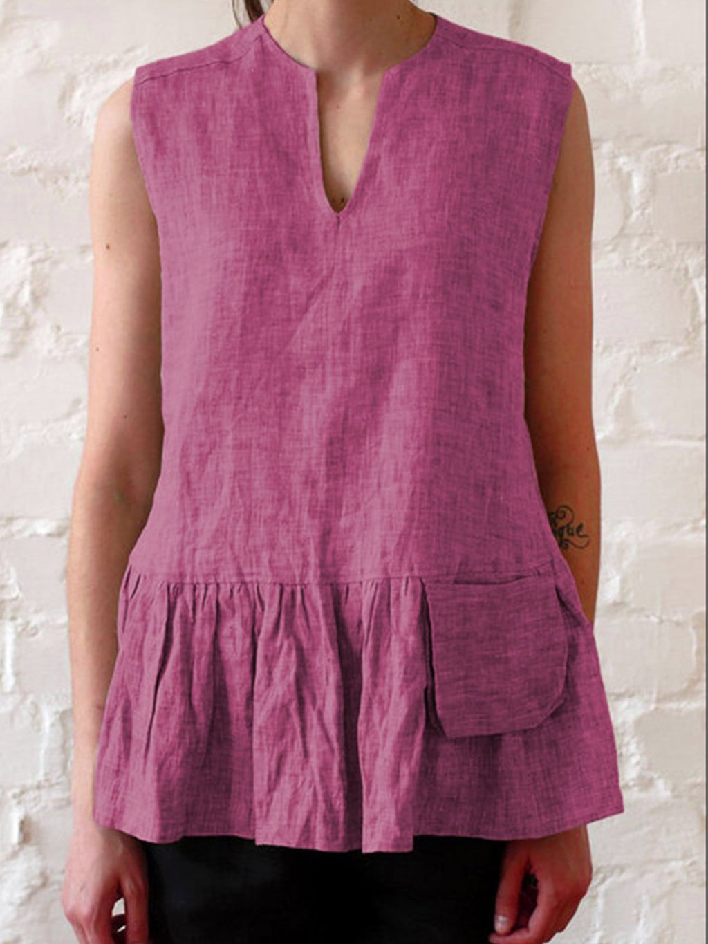 Patch Pocket Shirring Casual V Neck Paneled Sleeveless Tank