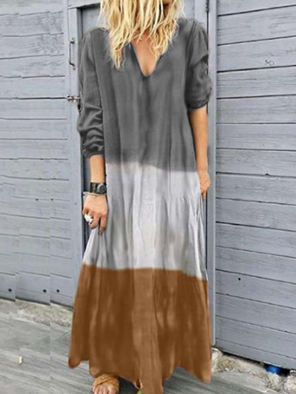 Plus Size Gradient Print V Neck Long-Sleeved Maxi Dress