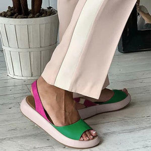 Chic Color Block Peep Toe Flat Mule Sandals