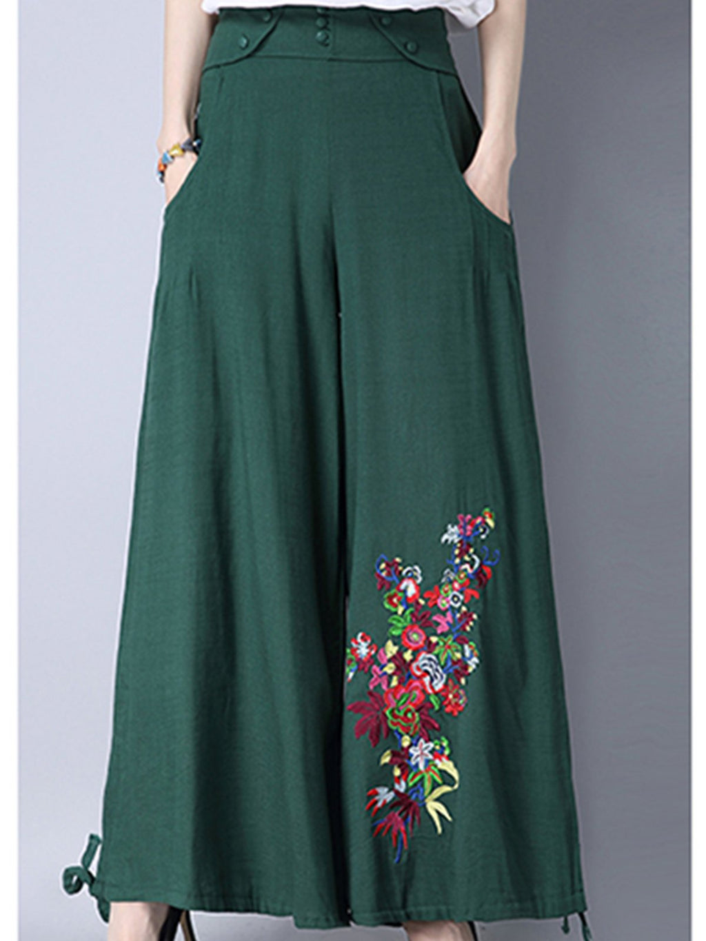 Linen/Cotton Folk Style Embroidery Loose Wide-leg Women Pants