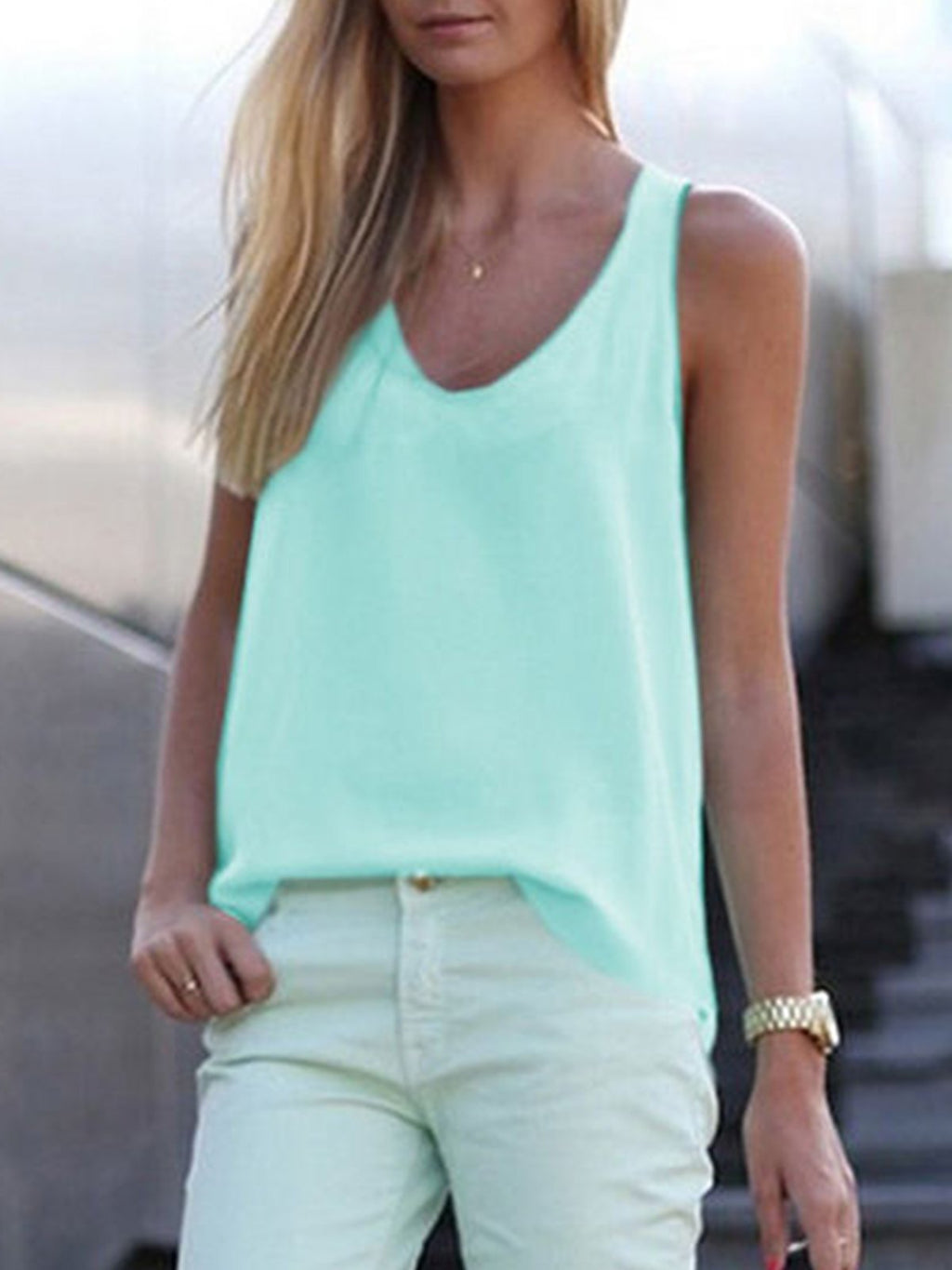 Solid Summer Sleeveless Strap Chiffon Tank