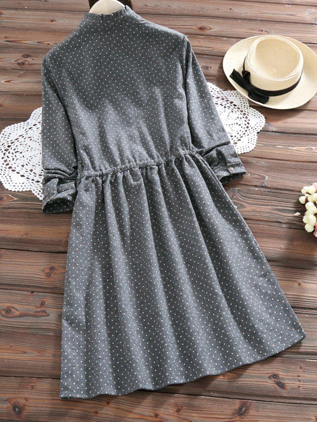 Girly Long Sleeve Women Polka Dot Fall Dress