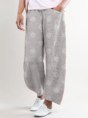 Dot Print Linen-Blend Wide-Legged Pocket Pants