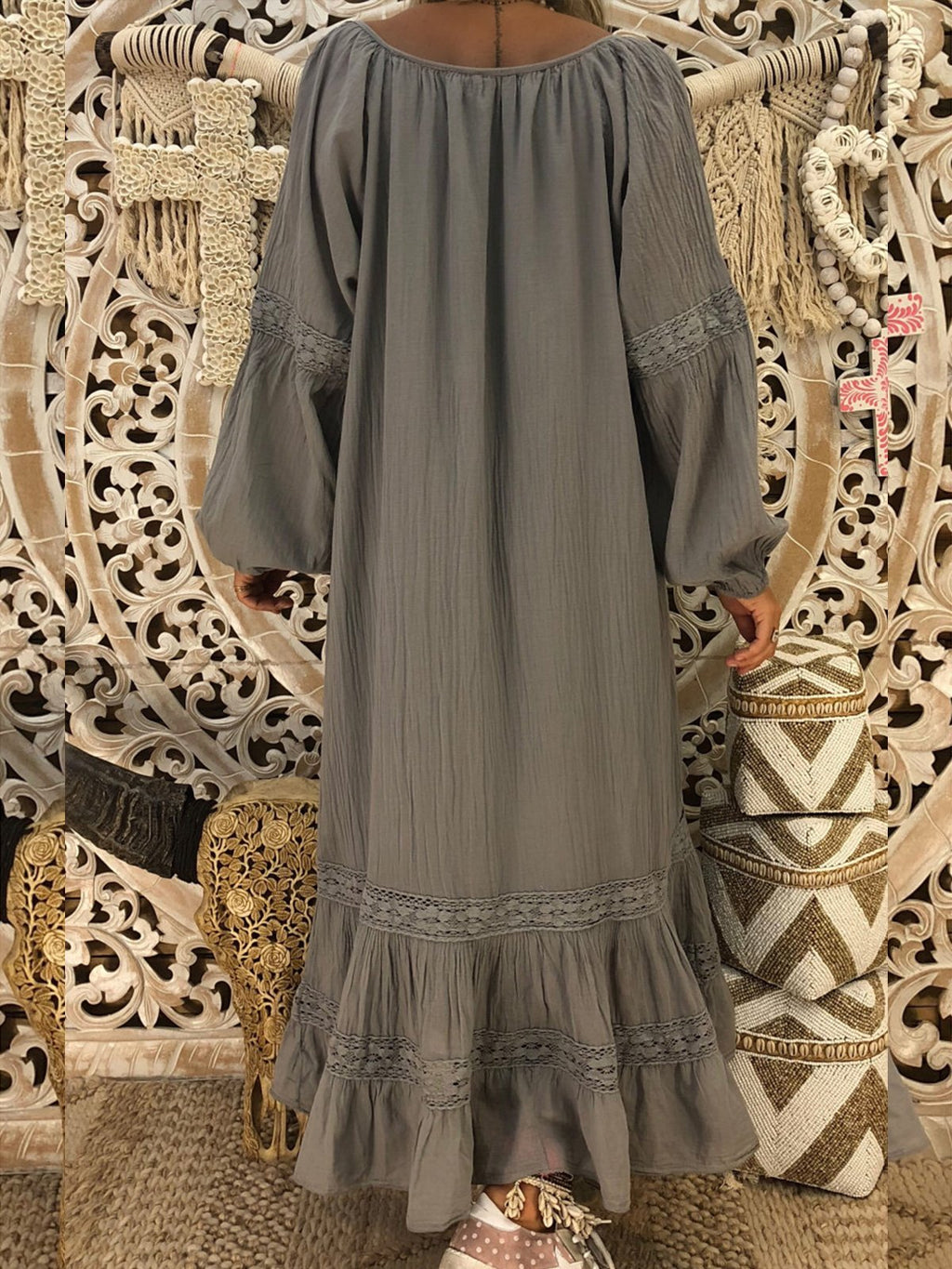 Long Sleeve Round Neck Lace Loose Paneled Dress