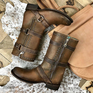 Brown Adjustable Buckle Artificial Leather Chunky Heel Boots