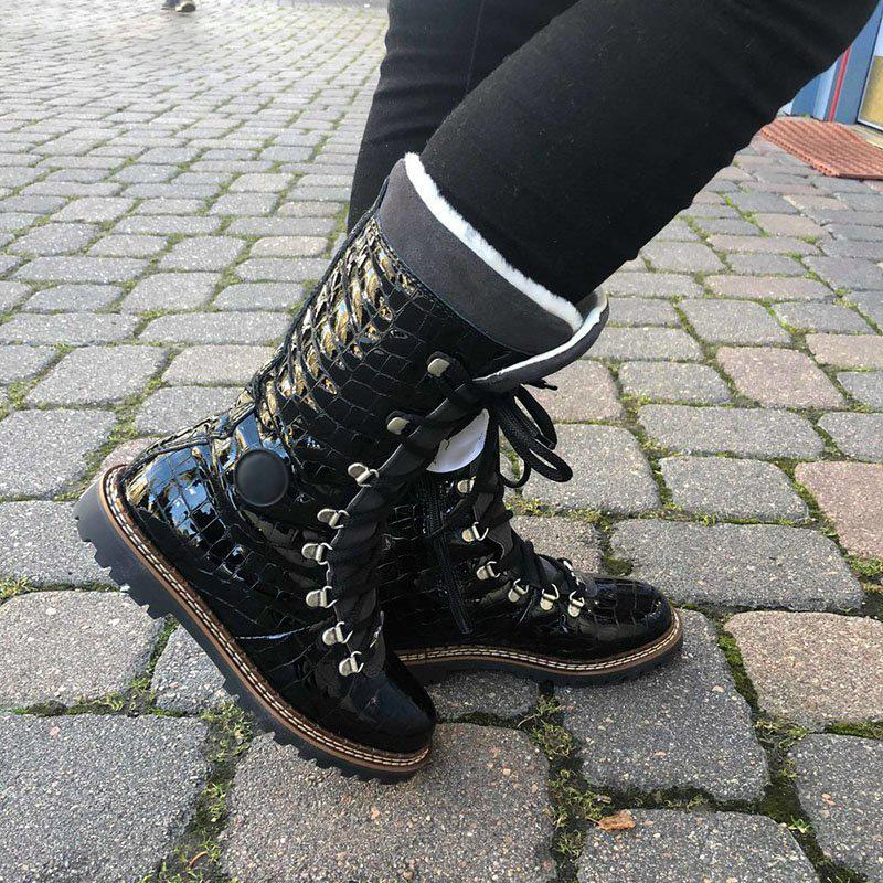 Womens Snow Boots  Pu Low Heel Lace-Up Winter Boots