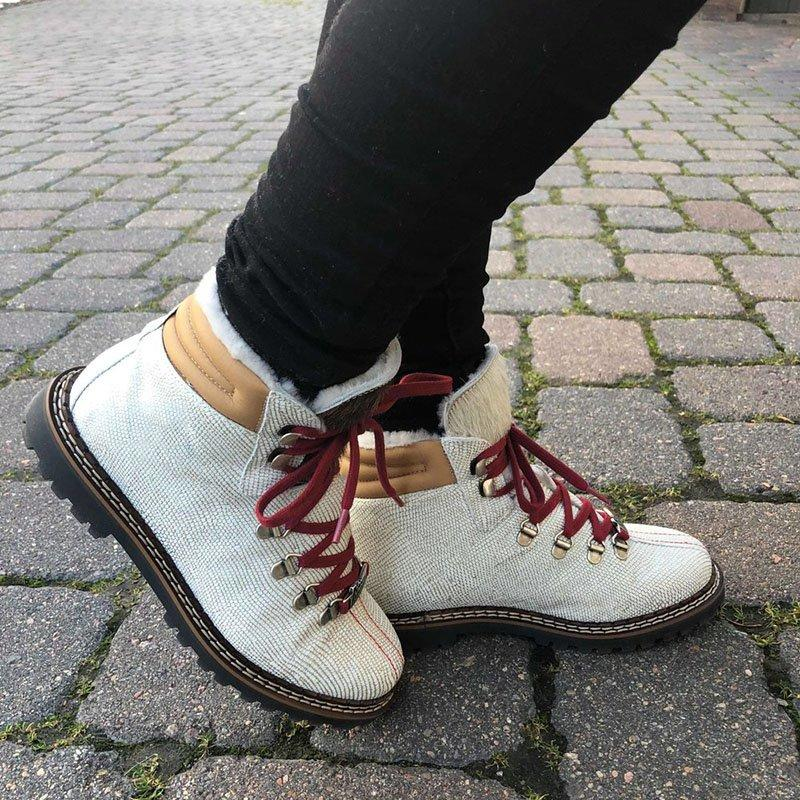 Womens Lace Up Canvas Winter Low Heel Snow Boots