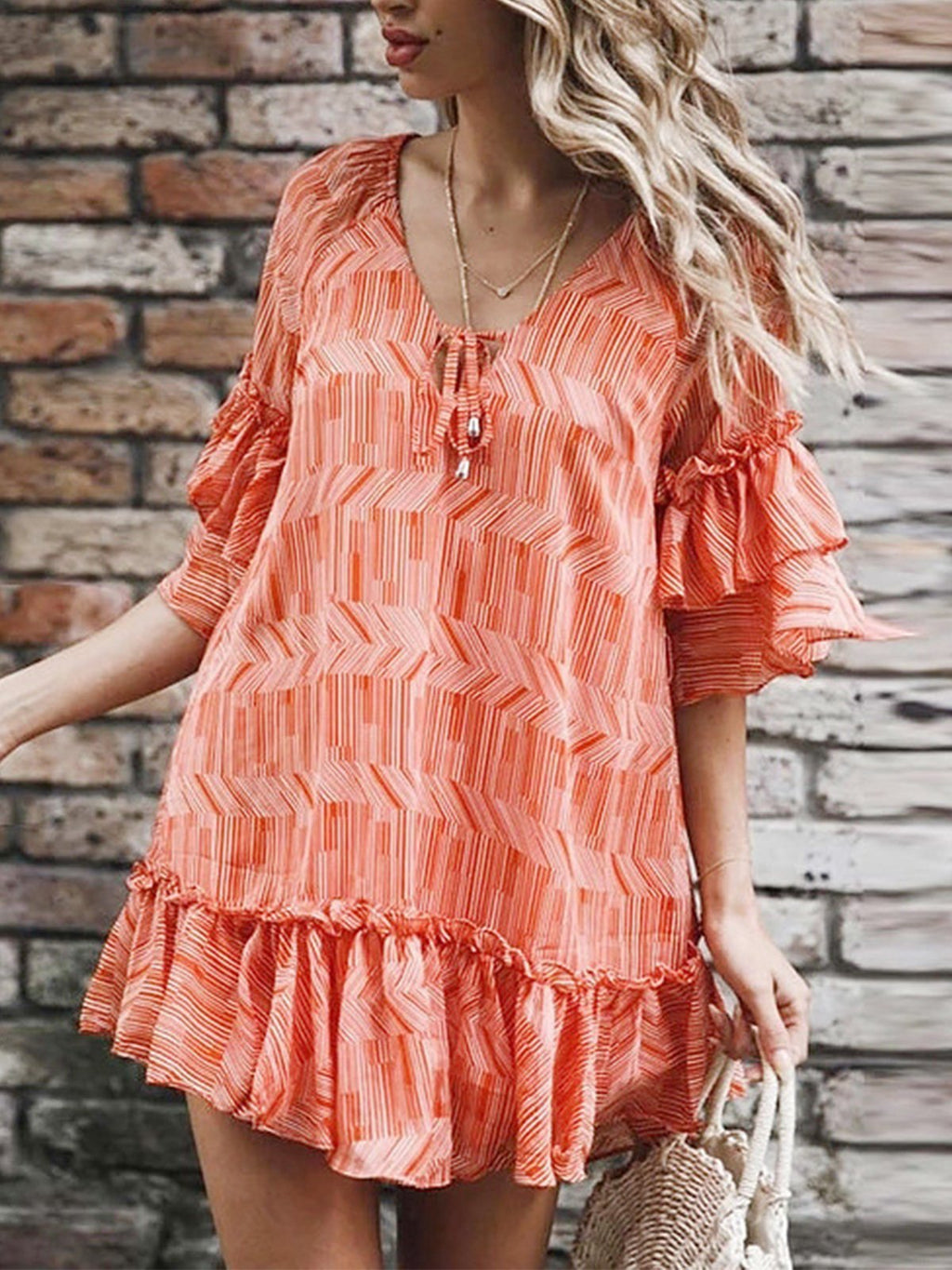 Orange Floral Print Mini Summer Dress