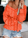 Plus Size Bright Print V Neck Loose Long-Sleeved Blouse