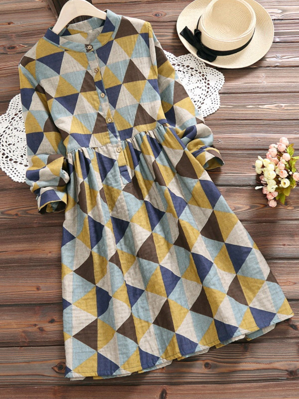 Geometric Print Stand Collar Long Sleeve Cotton Women Dress