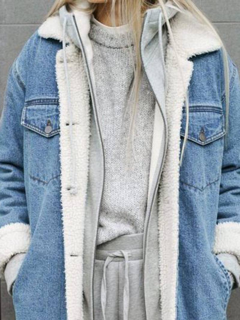 Plus size Casual Denim Outerwear