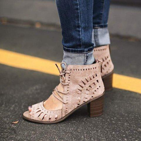 Hollow Lace-Up High Chunky Vintage Gladiator Sandals