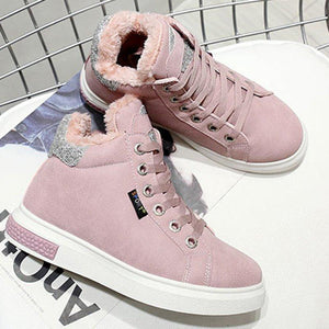 Pink Women Athletic Lace Up Sneakers Boots Casual Shoes