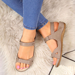 Casual Hook&Loop Closure Solid Flat Women Sandals