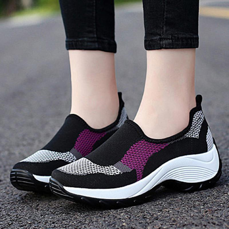Purple/Black Women Athletic Slip On Sneakers Casual Shoes