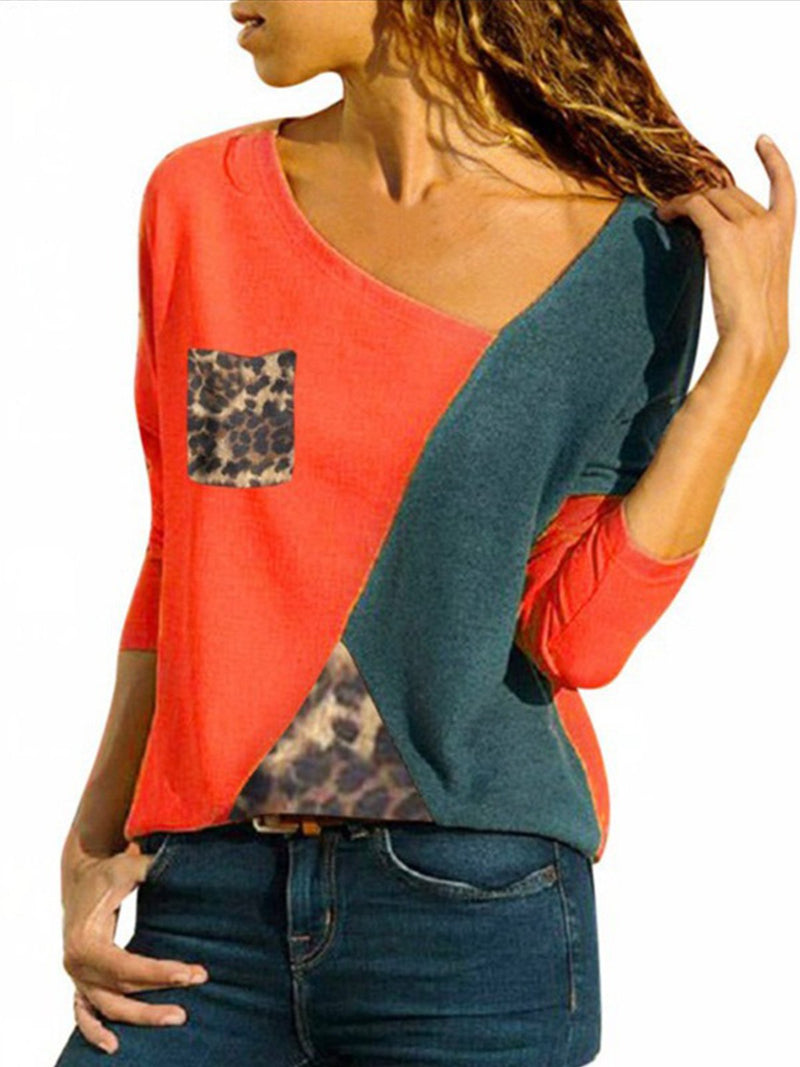 Long Sleeve Patchwork V Neck Leopard Print Patch-pocket T-Shirt