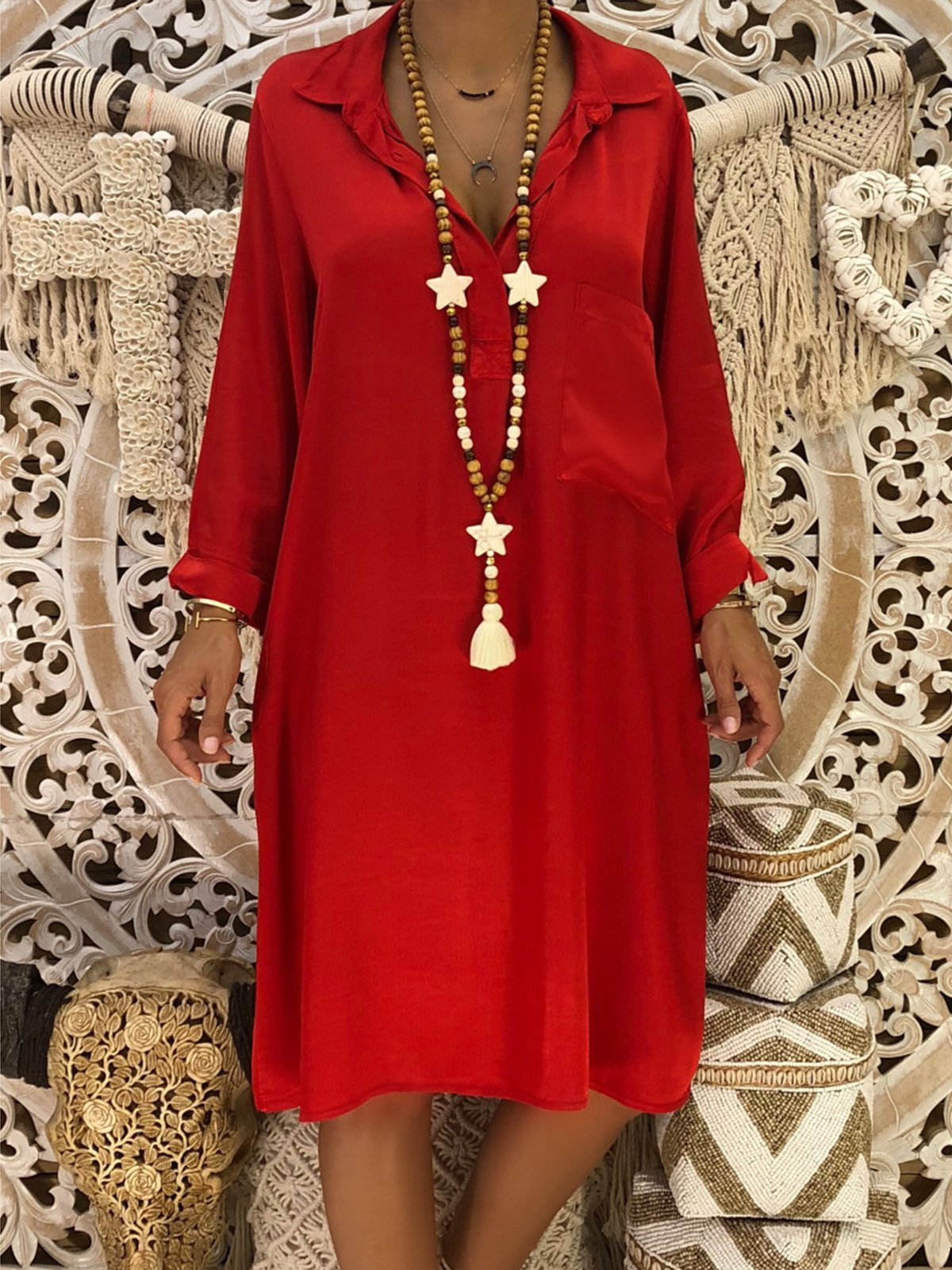 f31c81b6b4 V-Neck Red Shift Women Daily Long Sleeve Casual Cotton Solid Spring Dress