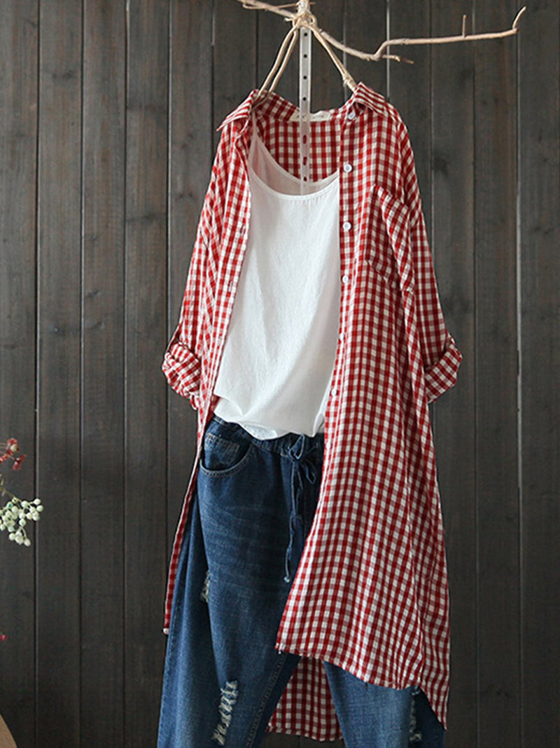 Cotton Gingham Print Midi Length Casual Shirt