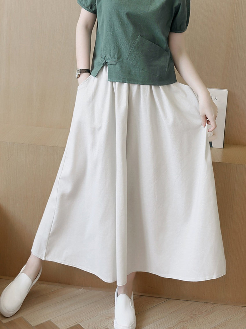 Linen Wide-leg Casual Crop-length Culottes