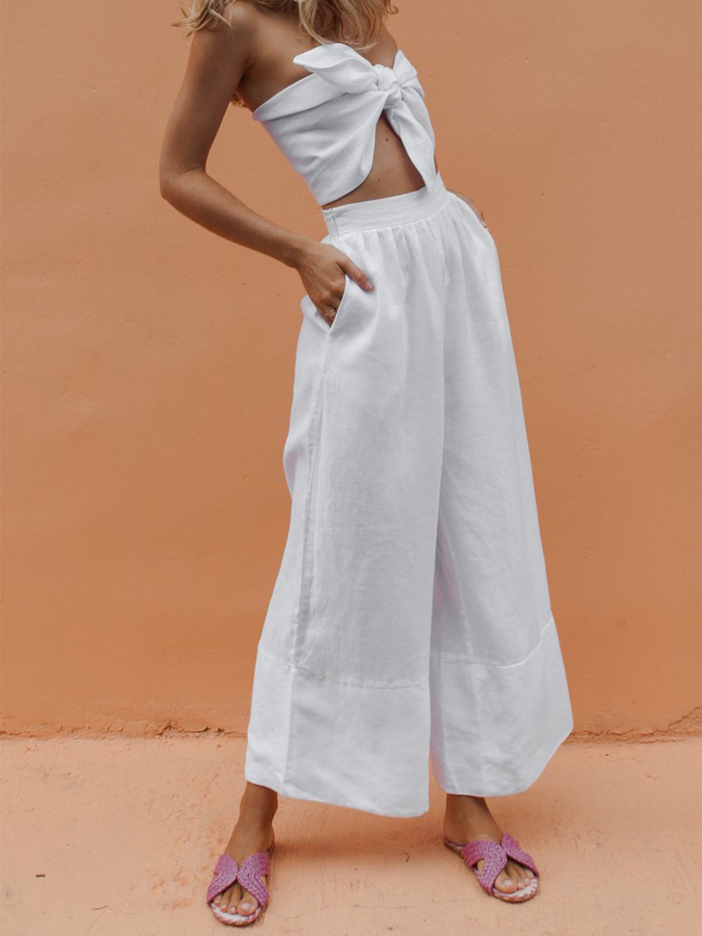 Linen/Cotton Solid Wide-leg Pants