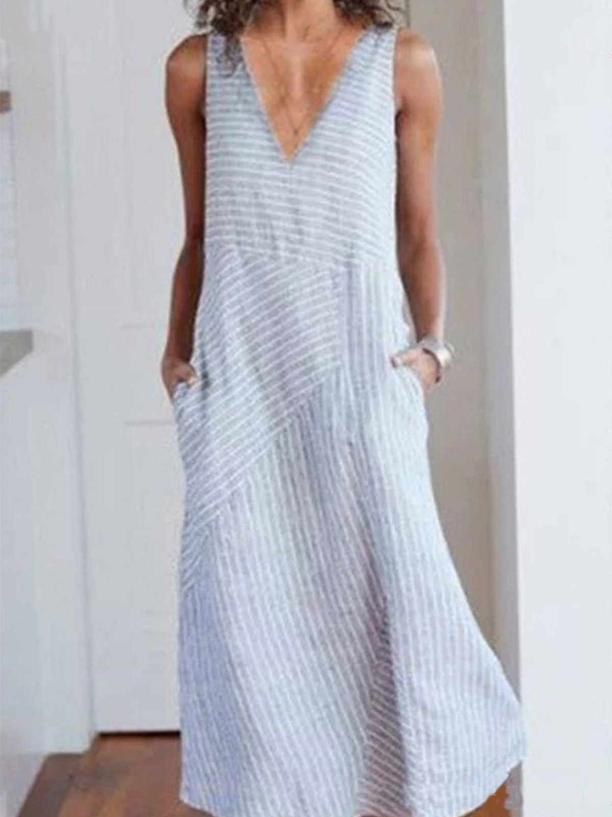 Deep V Neck Plus Size Cotton Stripe Dress