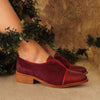 Vintage Color Collision Low Chunky Heels Slip-On Shoes