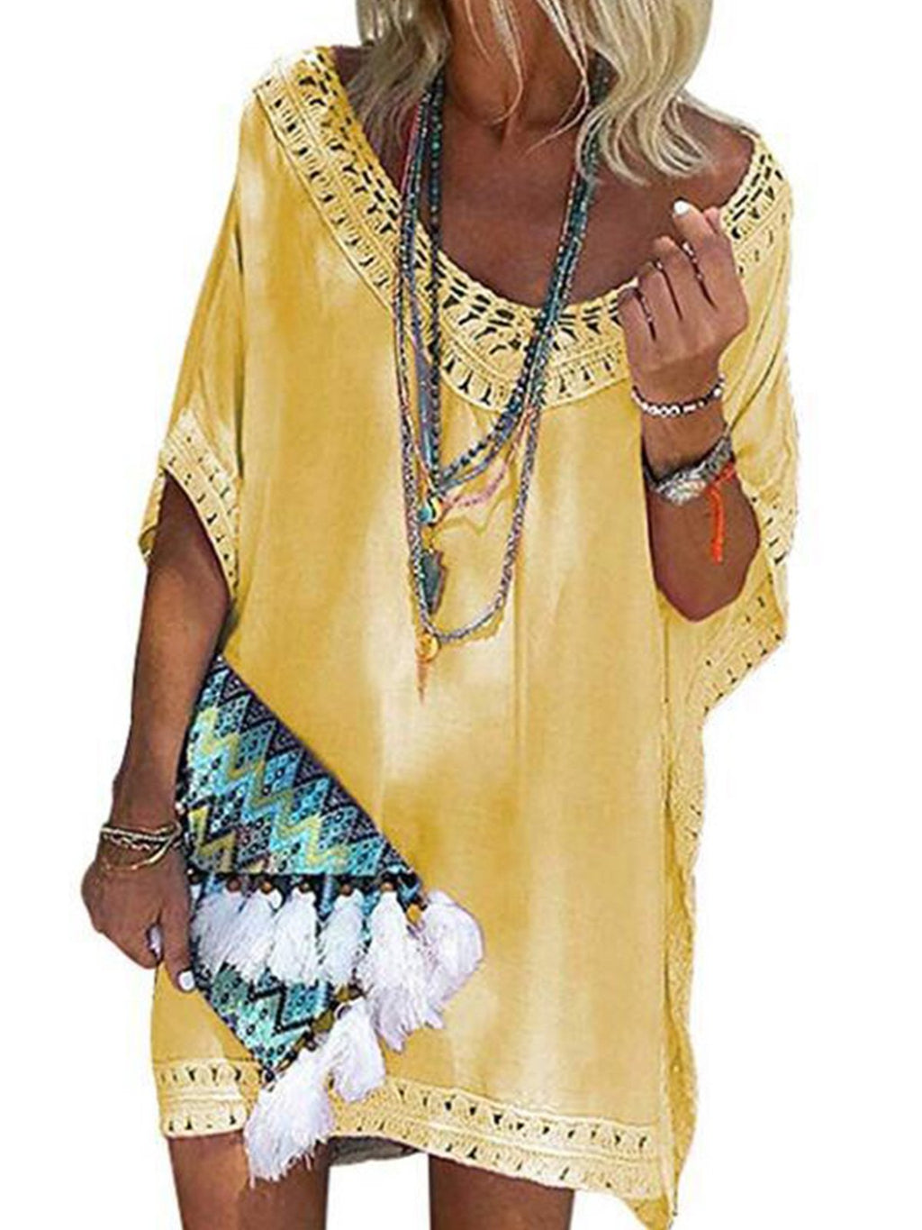 Women Short Sleeve Beach Cover-up Dress