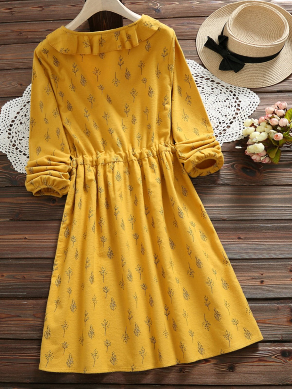 Sweet Ruffle Neck Floral Belted Long Sleeve Dress