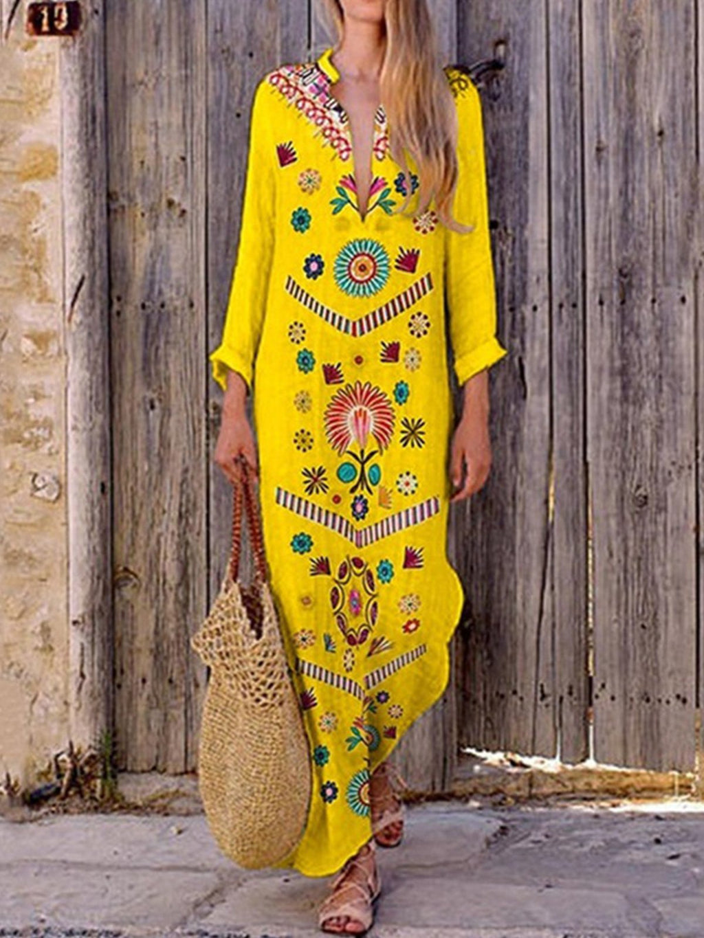 Bohomia Print V Neck Cotton/Linen Maxi Dress