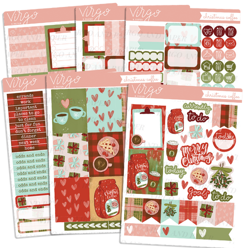 Christmas Coffee Weekly Planner Sticker Kit - Hand Drawn Christmas Stickers Exclusive to Virgo and Paper