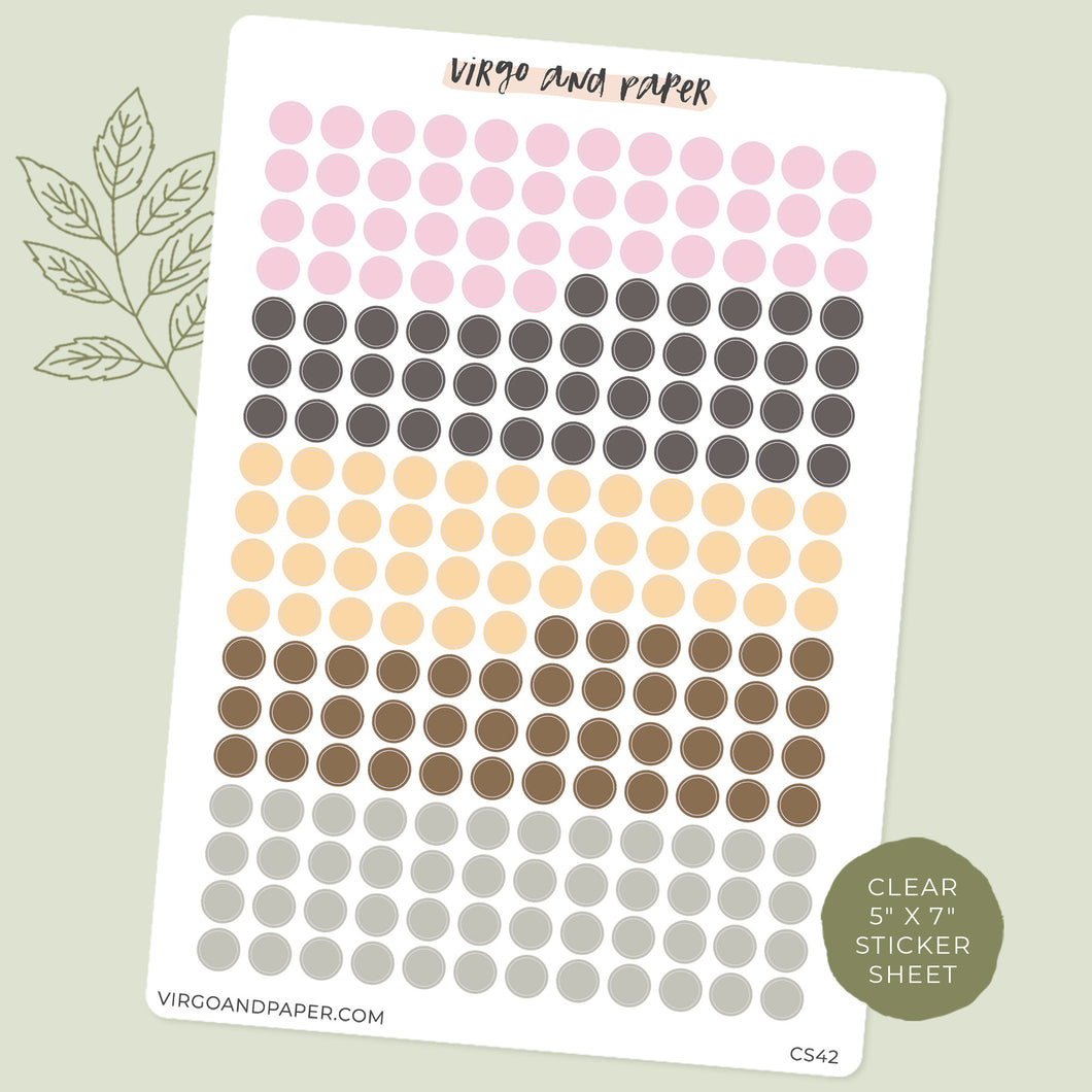 Highlighter Colors Clear Dot Stickers - Neutrals