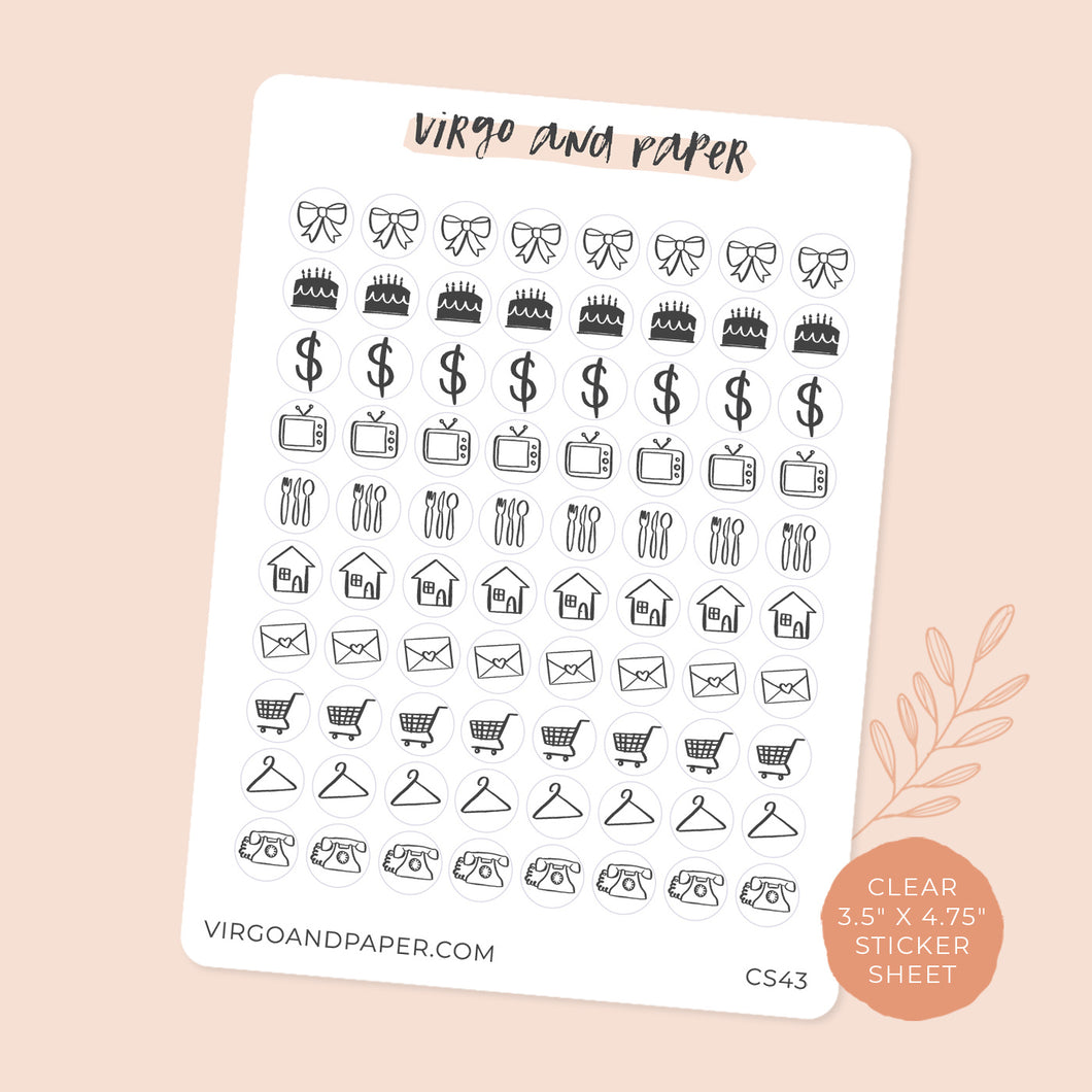 Clear Mini Icon Stickers