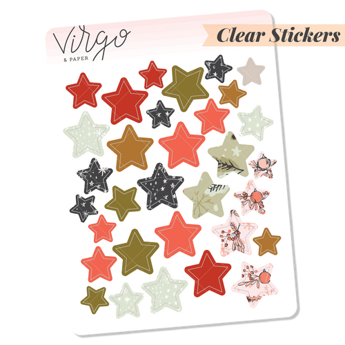 Holly Clear Star Stickers