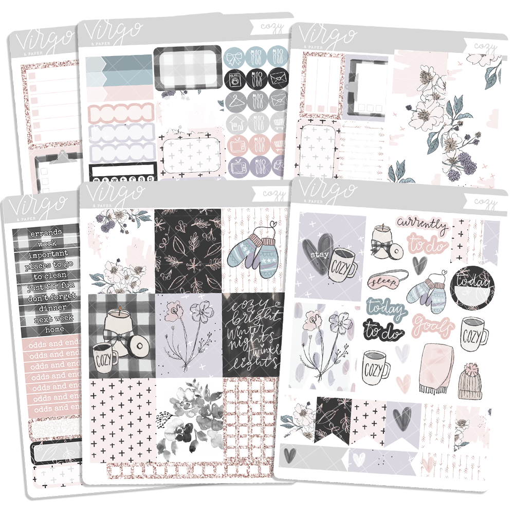 Cozy Weekly Planner Sticker Kit - Hand Drawn Winter Stickers Exclusive to Virgo and Paper