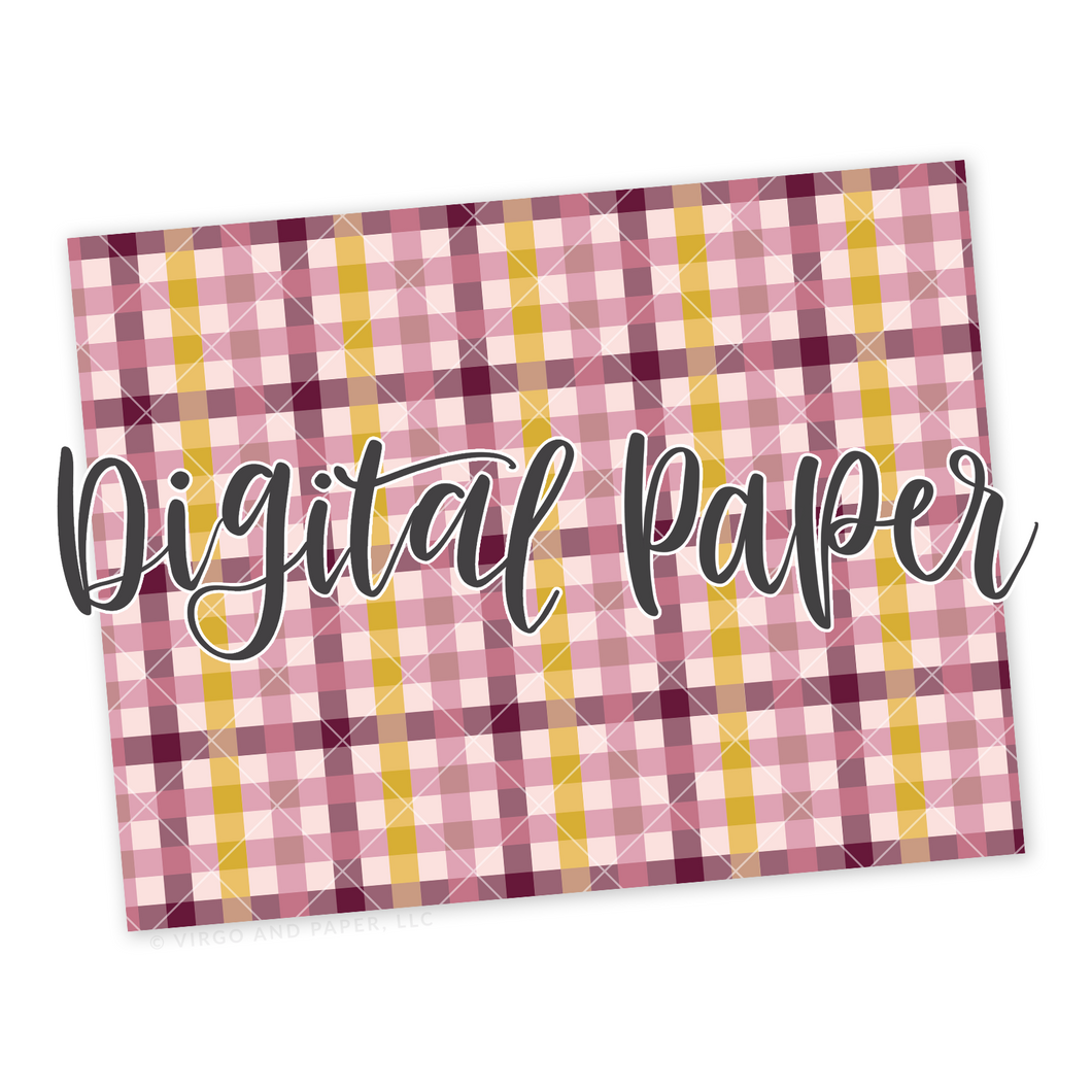 Pink Plaid Pattern Digital Paper