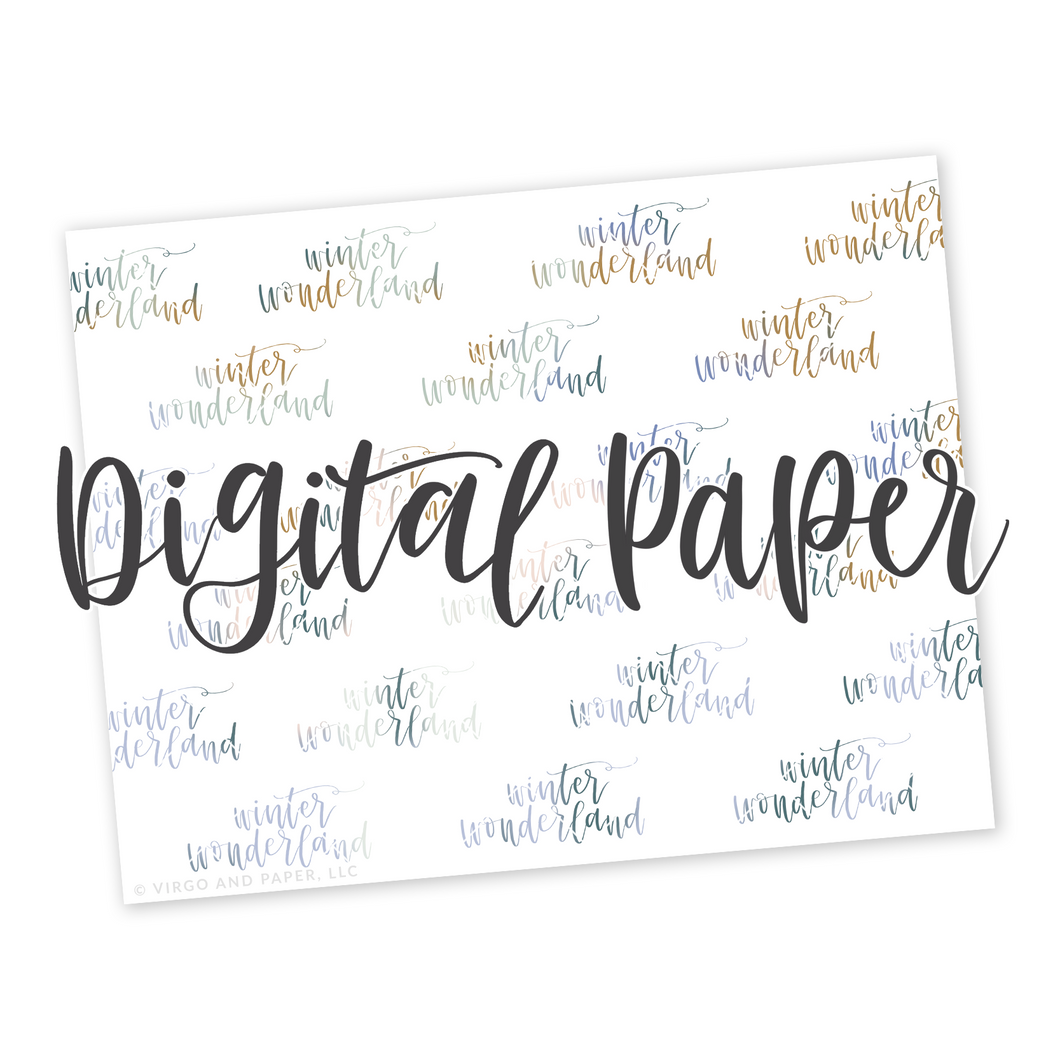Winter Wonderland Hand Lettered Digital Paper