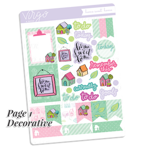 Home Sweet Home Weekly Sticker Kit - Hand Drawn Stickers Exclusive to Virgo and Paper