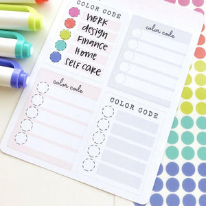 Color Code Key Full Box Stickers