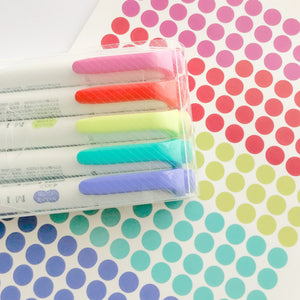 Highlighter Colors Dot Clear Stickers - Teal Colorway